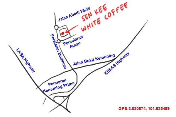 map to Sen Kee white coffee kopitiam, Taman Sri Muda