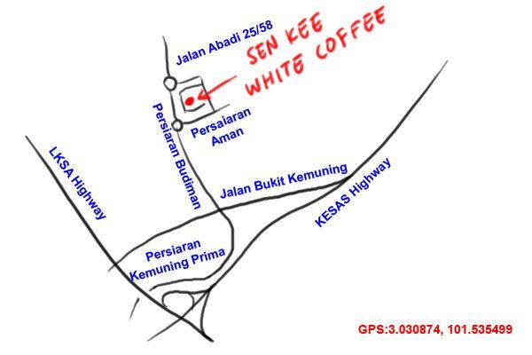 map to Sen Kee white coffee kopitiam, Taman Sri Muda