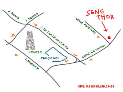 map to the best fried oyster in Penang