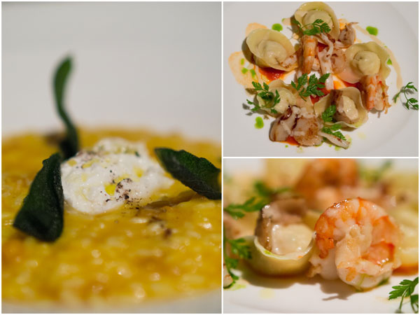 second dish - risotto with cream of pumpkin, or seabass tortelli with seafood ragout