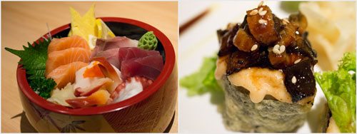 chirashi-jyu, closer look at unagi mentai maki