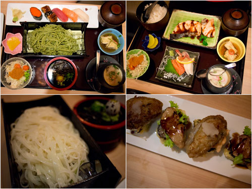 set meals, inaniwa noodle, foie gras and oyster mentai maki