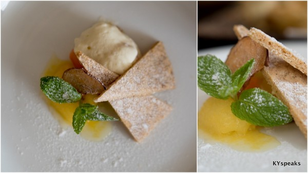 Cream Cheese Snow Mountain & Aomori Apple Sorbet with Cinnamon Cookie