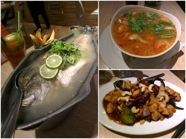 steamed siakap with lime sauce, tomyam seafood, chicken with dried chili