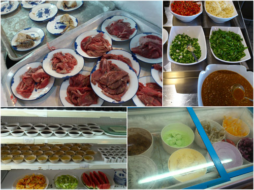 beef slices, various condiments, desserts, ice cream