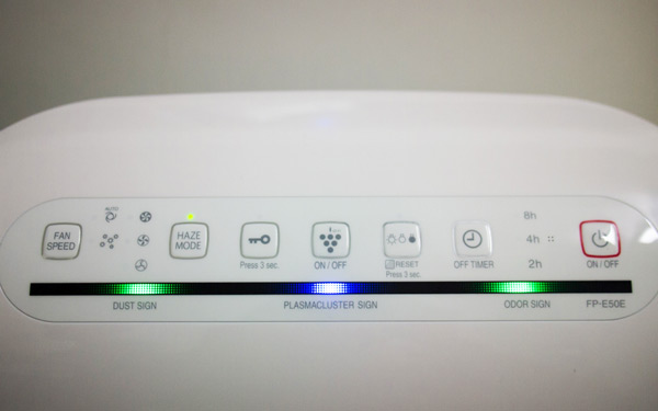 Fan Speed, Haze Mode, Lock, Plasmacluster On/Off, Reset, Off Timer, and On/Off button
