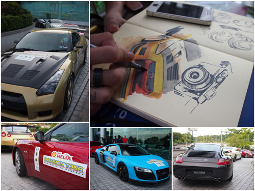 some of the supercars that participated in the tour