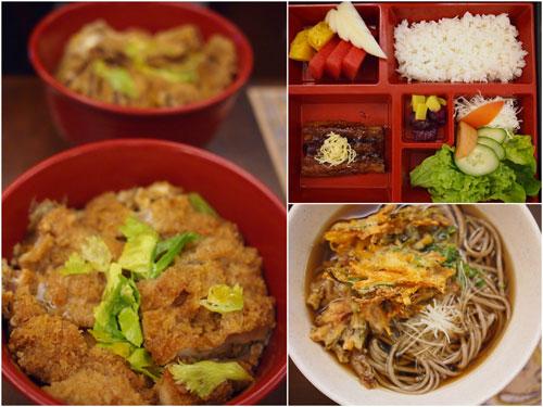 chicken/beef katsudon, unagi rice set, kakiage soba/udon