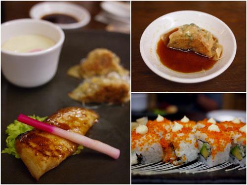 cod fish teriyaki, gyoza, california maki