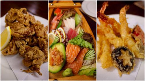chicken kara-age, sashimi, tempura