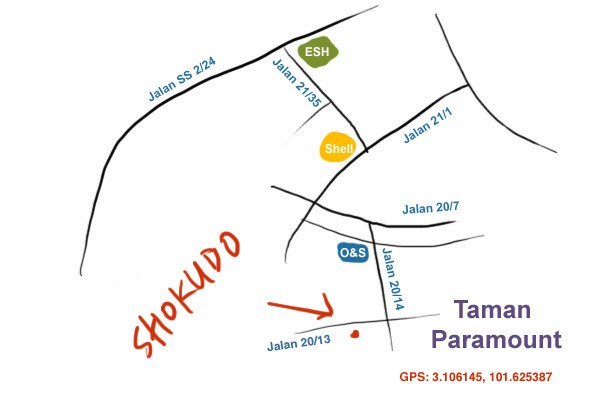 map to shokudo Japanese Curry rice, Taman Paramount