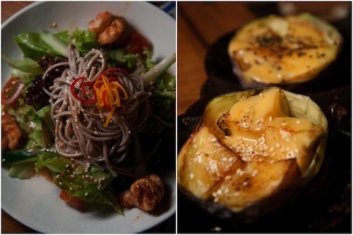 soba, roast eggplants
