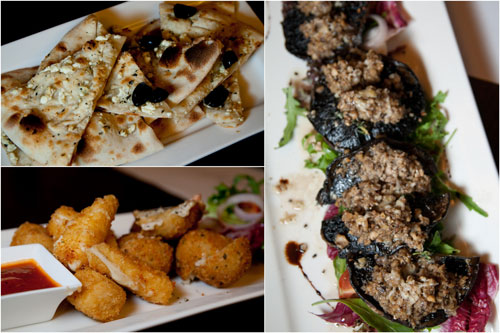 feta & olive foccacia, mozarella sticks & smoked salmon rice ball, stuffed portobello mushroom