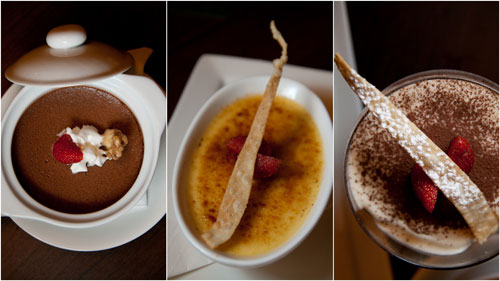 chocolate pot, creme brulee, tiramisu
