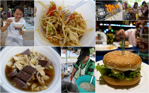 good eats at Khao Lak - burger, mango salad, noodle soup, grilled chicken
