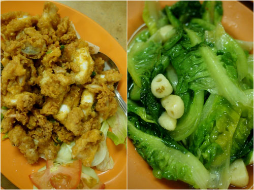 squid with salted egg, vegetable for vitamin c quota