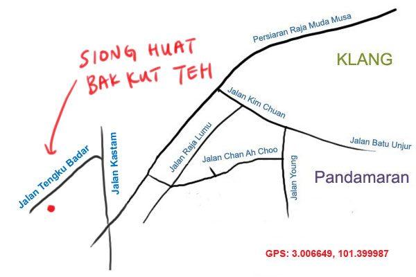 map to Siong Huat bak kut teh, Klang