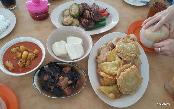 various types of ytf, plus curry chicken & hakka fried pork