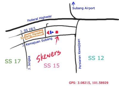 map to Skewers restaurant, Subang Avenue