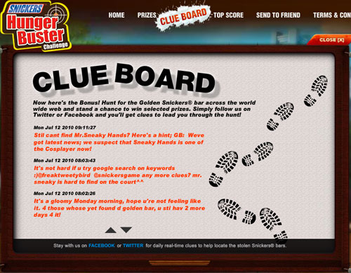 Hunt for the Golden Snicker clue board