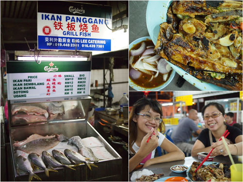 ikan bakar stall at Song River, choices