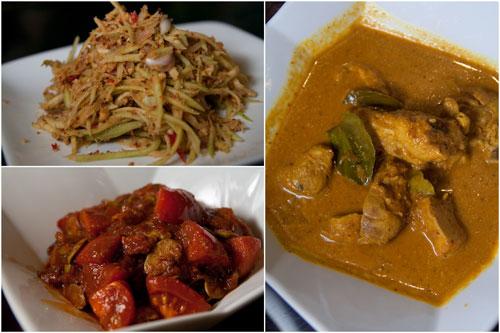 kerabu mangga, ayam sambal petai, ayam lemak asam gelugur