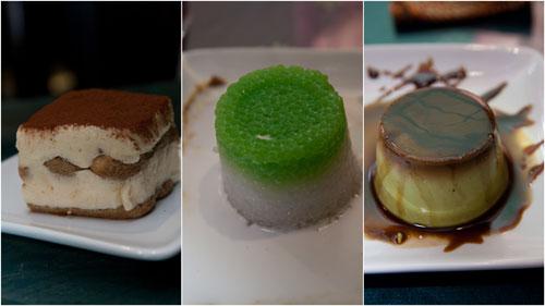 durian tiramisu, sago gula melaka, pandan pudding