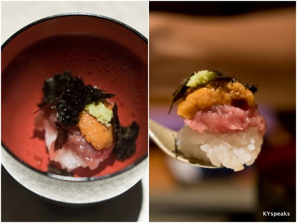 mini sushi with chopped tuna belly and sea urchin