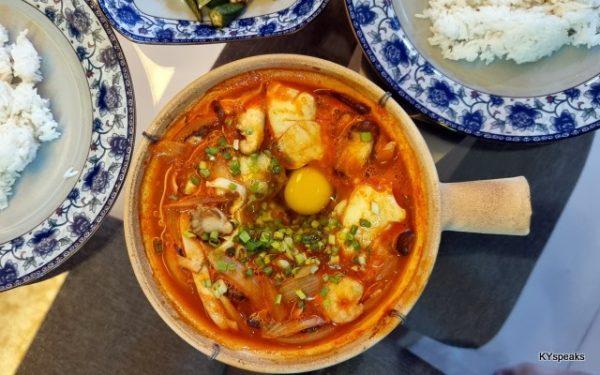 Korean spicy tofu soup in a claypot