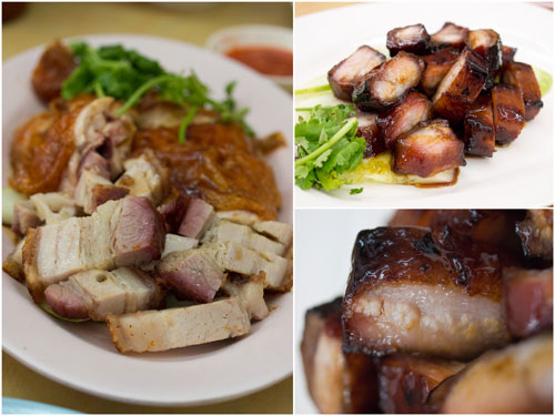 siu yoke (roast pork), roast chicken, and char siu (bbq pork)