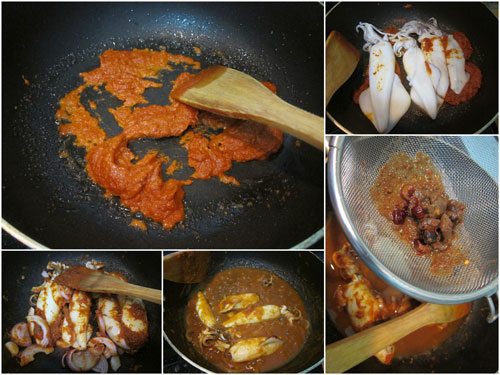 fry the curry paste, then squid, finally add asam water