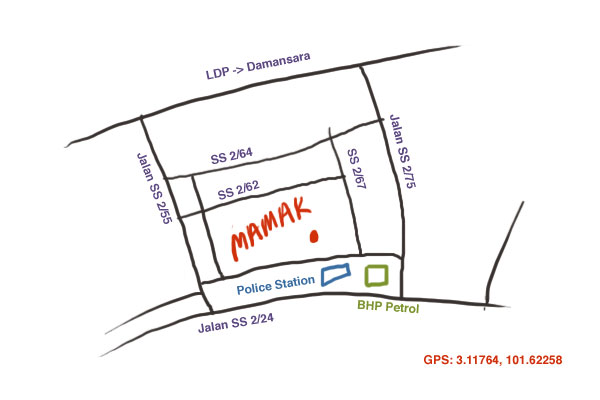 map to Mamak Square at Petaling Jaya SS2