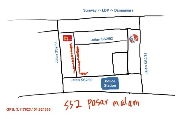 map to SS2 Pasar Malam