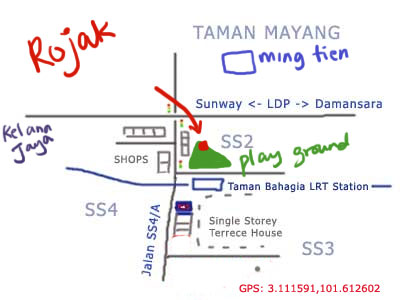 map to rojak outside taman bahagia station