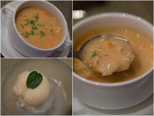 crab meat chowder and a sorbet as palate cleanser