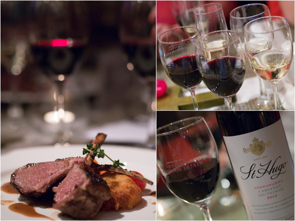 slow cooked grass-fed Australian lamb rack, St Hugo Barossa Shiraz