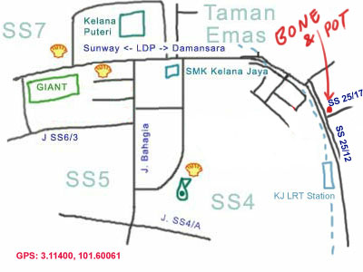 map to Bone & Pot steamboat at Kelana Jaya