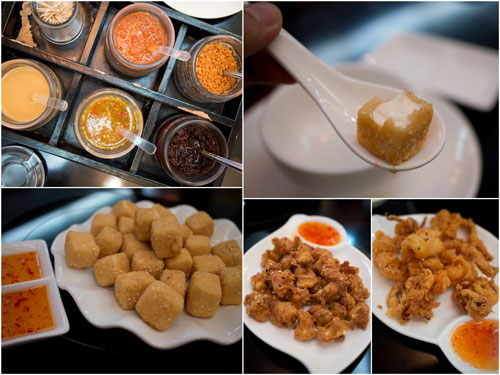 "fried beancurd, chicken ""soft bone"", and squid with salt and pepper"