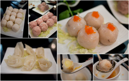 cheese ball, pork ball, sotong ball, shrimp ball, mushroom with pork ball