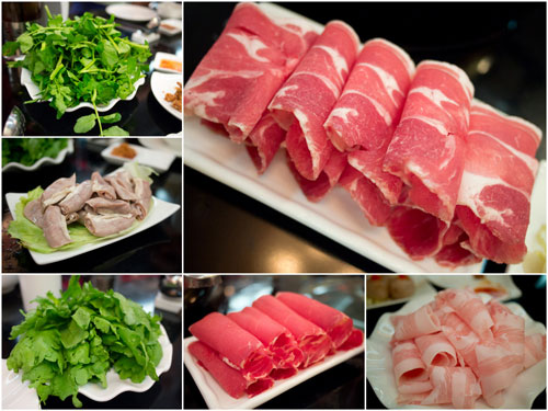 beef slices, pork neck slices, lamb slices, pork intestine, and vege