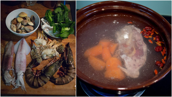raw seafood with herbal soup