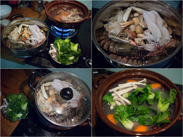 steam the seafood for 15 minutes, add green vegetables in the last 3 mins