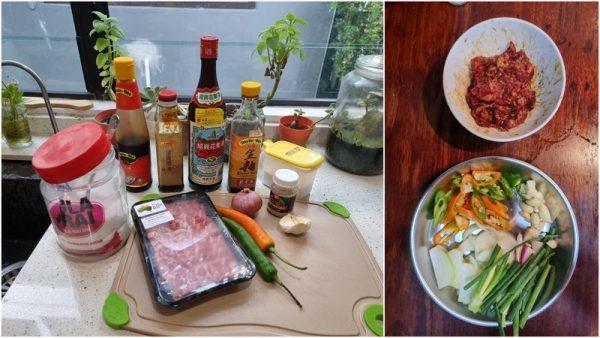 stirfry beef bento recipe, the ingredients