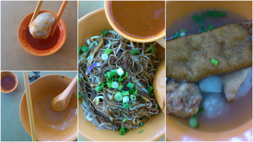 the five different types of fishball / fish paste items