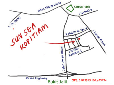 map to Sun Sea kopitiam at OUG