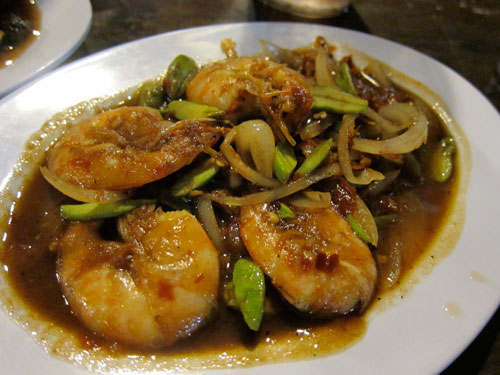 petai udang (bitter bean with prawns)