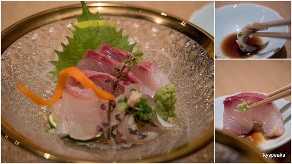 sashimi - kampachi, tai, aji