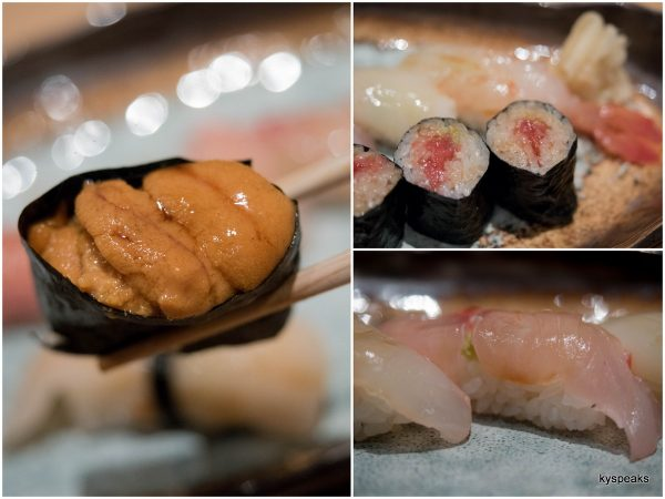 sushi - chutoro, cattlefish, snapper, golden eye red snapper, striped jack, sea urchin, fat tuna roll, prawn