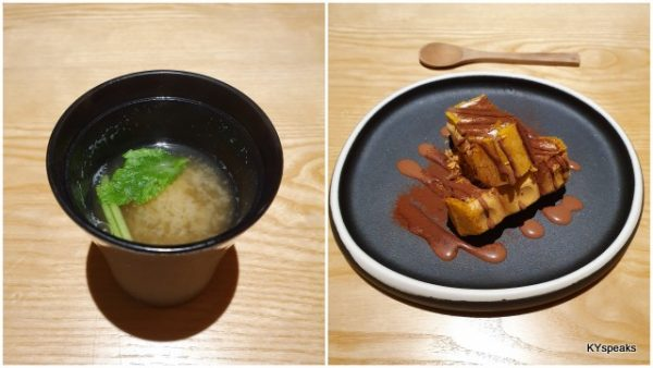 miso soup, dessert