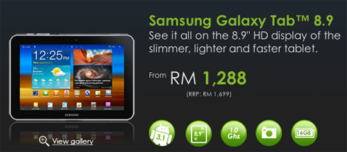Galaxy Tab 8.9 now with Celcom